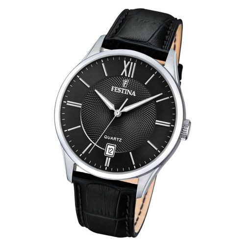 F20426/6 Festina Watch Mens Black Round Leather Strap Watch